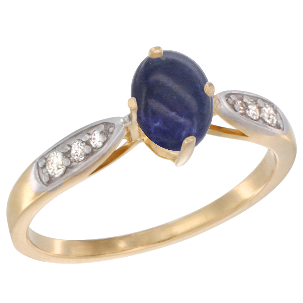 10K Yellow Gold Diamond Natural Lapis Engagement Ring Oval 7x5mm, sizes 5 - 10