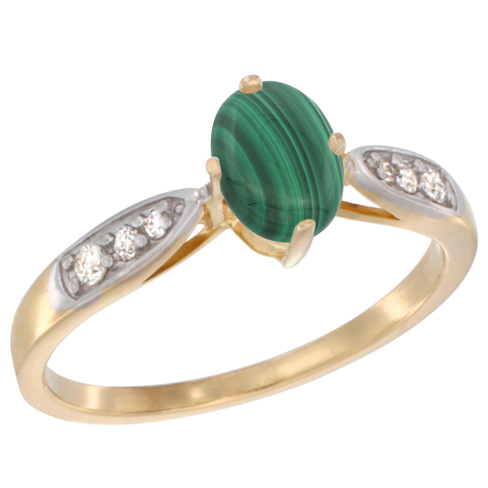 10K Yellow Gold Diamond Natural Malachite Engagement Ring Oval 7x5mm, sizes 5 - 10