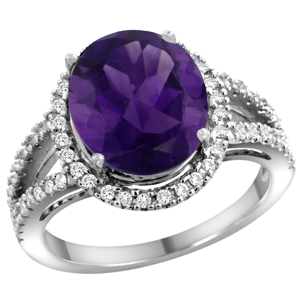 10K White Gold Natural Amethyst Ring Oval 12x10mm Diamond Accents, sizes 5 - 10