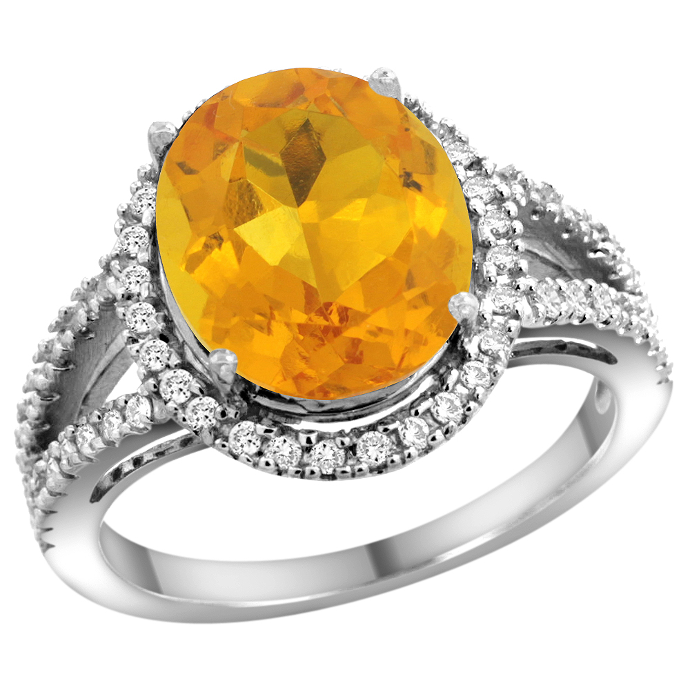 10K White Gold Natural Citrine Ring Oval 12x10mm Diamond Accents, sizes 5 - 10