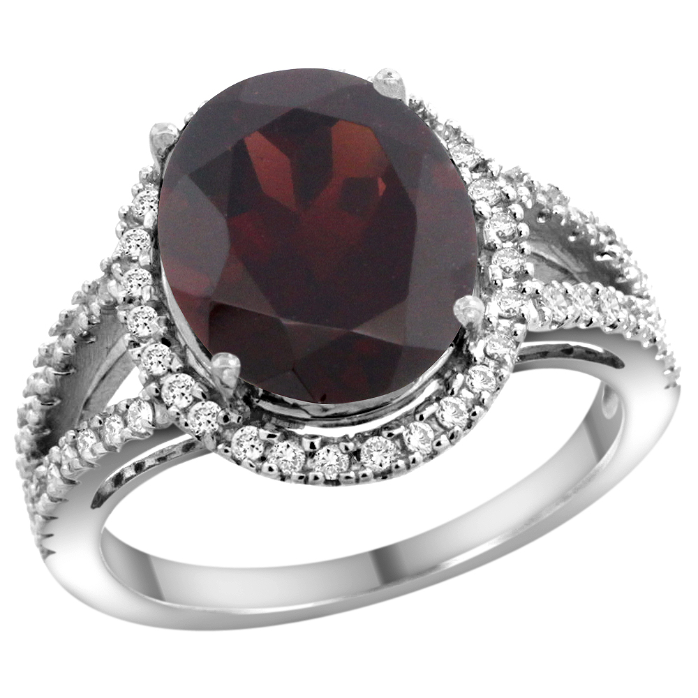 10K White Gold Natural Garnet Ring Oval 12x10mm Diamond Accents, sizes 5 - 10
