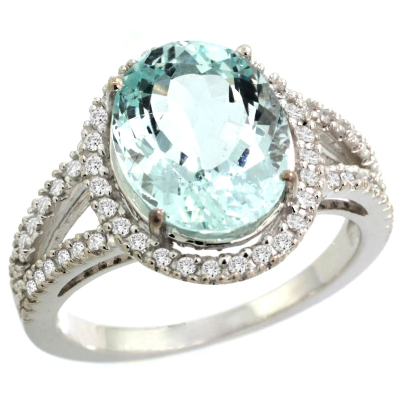 10K White Gold Natural Aquamarine Ring Oval 12x10mm Diamond Accents, sizes 5 - 10