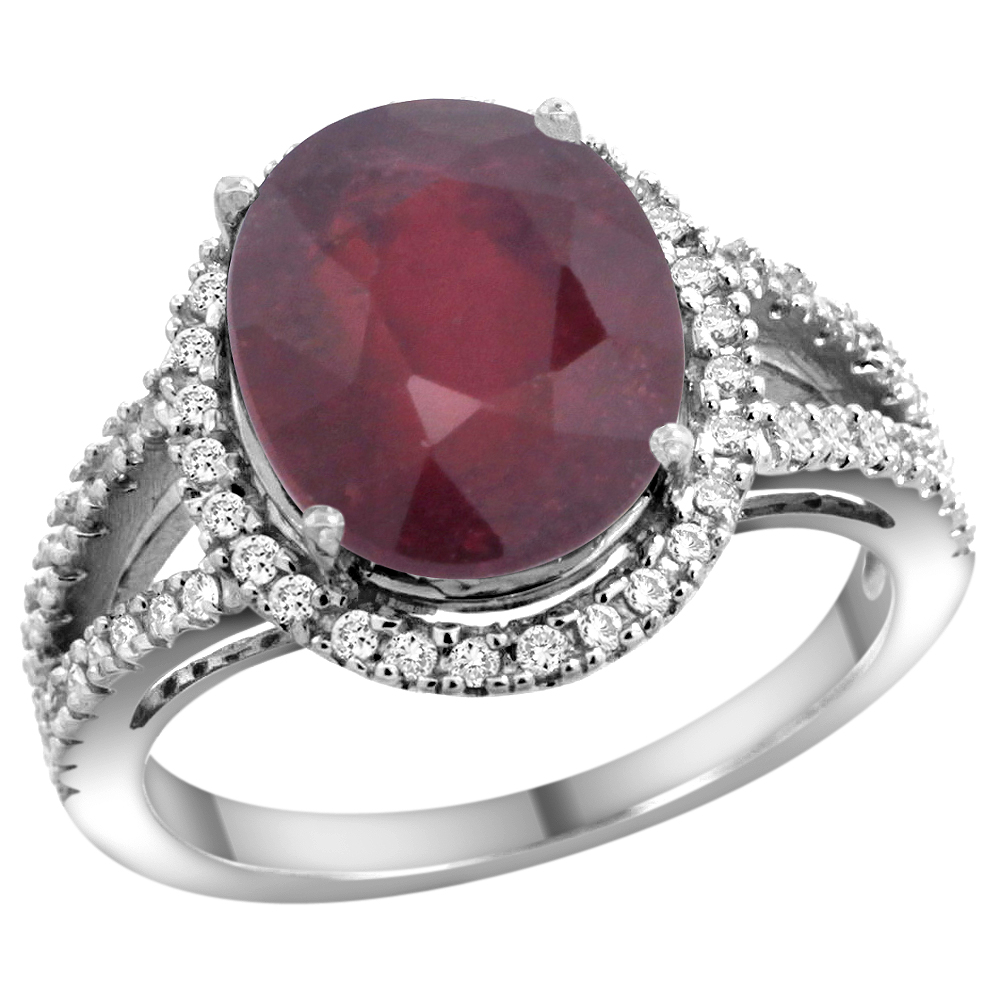 10K White Gold Enhanced Ruby Ring Oval 12x10mm Diamond Accents, sizes 5 - 10