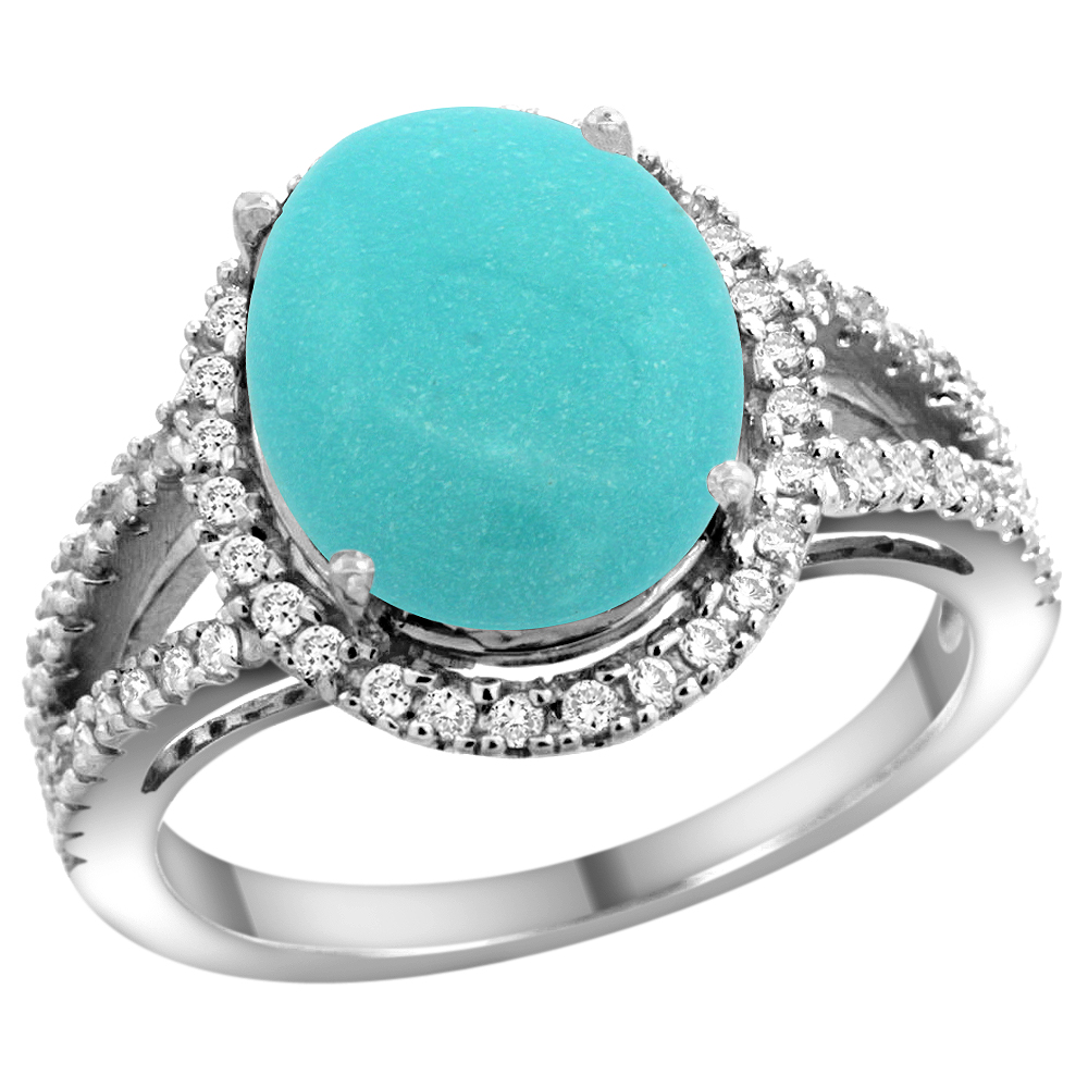 10K White Gold Natural Turquoise Ring Oval 12x10mm Diamond Accents, sizes 5 - 10