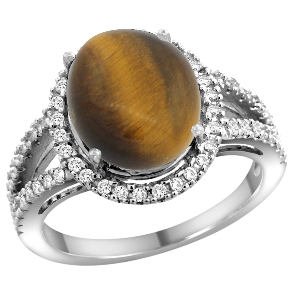 10K White Gold Natural Tiger Eye Ring Oval 12x10mm Diamond Accents, sizes 5 - 10