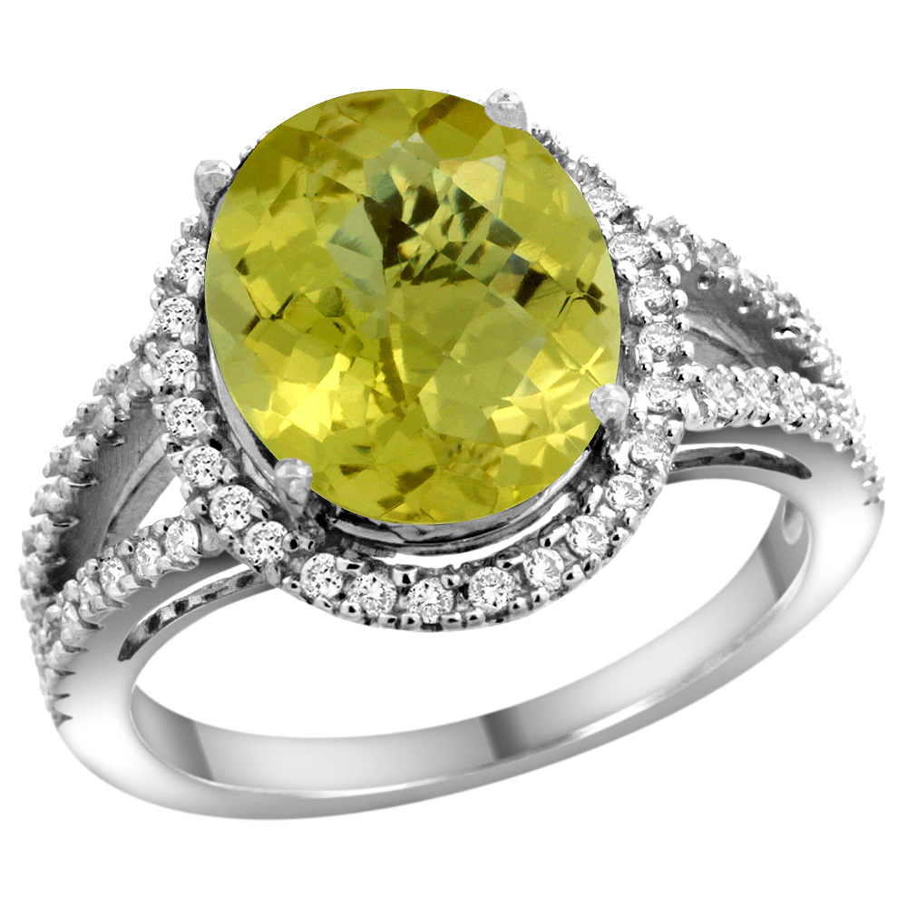 10K White Gold Natural Lemon Quartz Ring Oval 12x10mm Diamond Accents, sizes 5 - 10