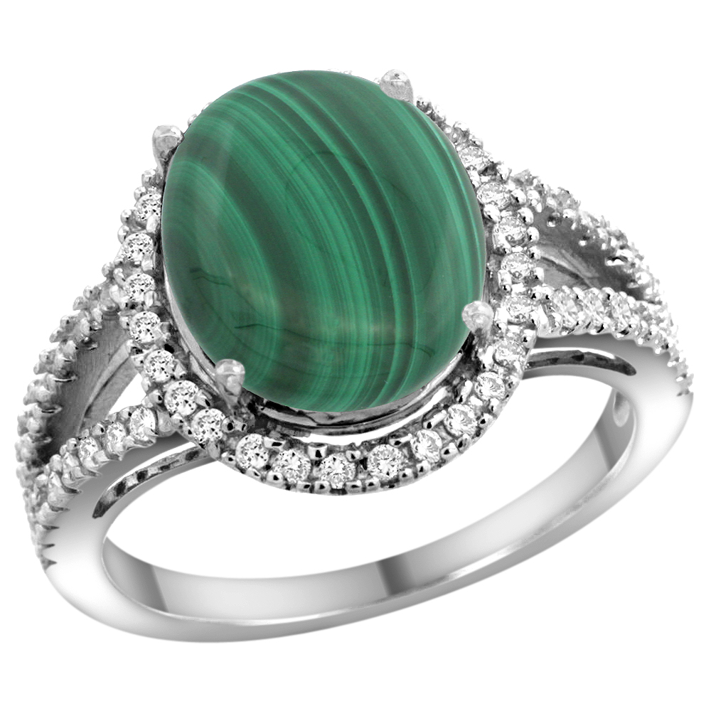 10K White Gold Natural Malachite Ring Oval 12x10mm Diamond Accents, sizes 5 - 10