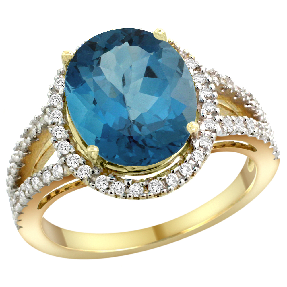 10K Yellow Gold Natural London Blue Topaz Ring Oval 12x10mm Diamond Accents, sizes 5 - 10