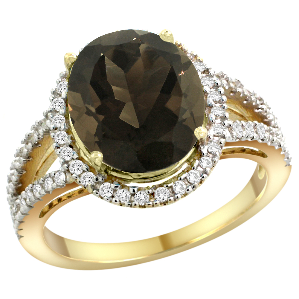 10K Yellow Gold Natural Smoky Topaz Ring Oval 12x10mm Diamond Accents, sizes 5 - 10