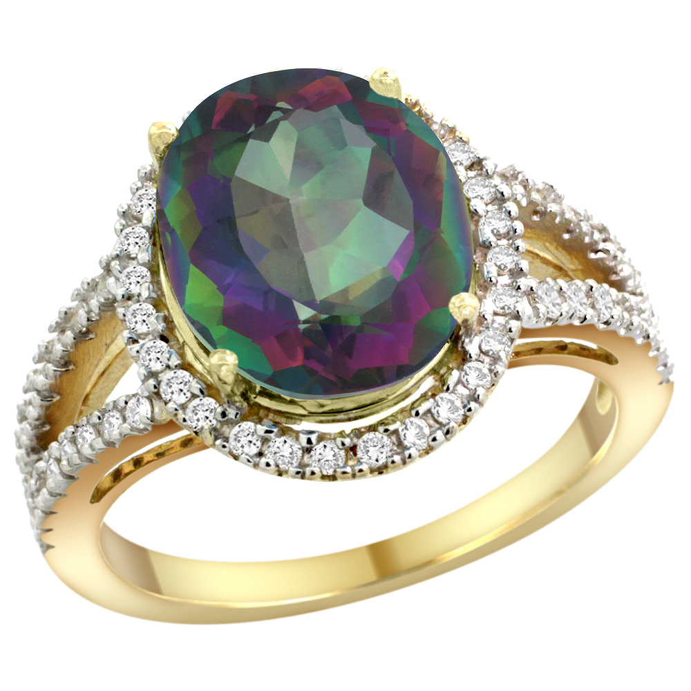 10K Yellow Gold Natural Mystic Topaz Ring Oval 12x10mm Diamond Accents, sizes 5 - 10