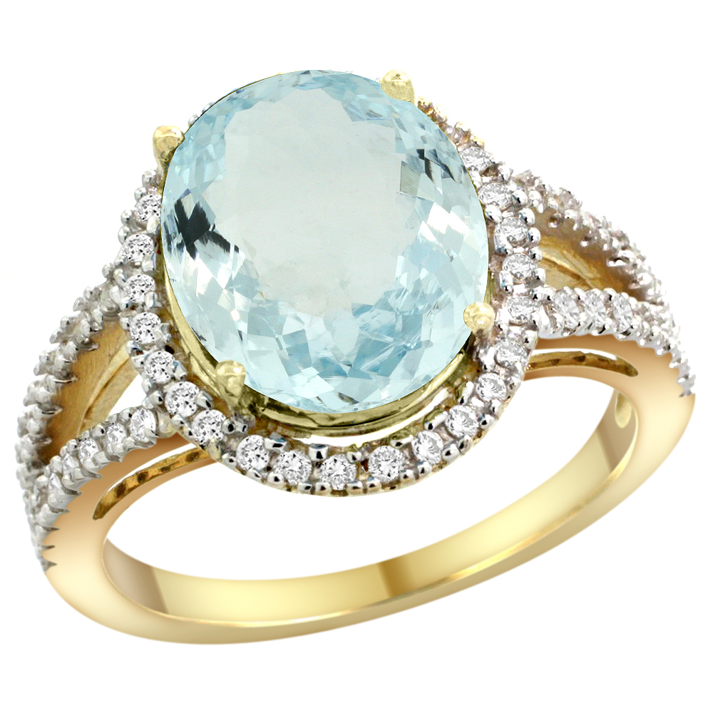 10K Yellow Gold Natural Aquamarine Ring Oval 12x10mm Diamond Accents, sizes 5 - 10