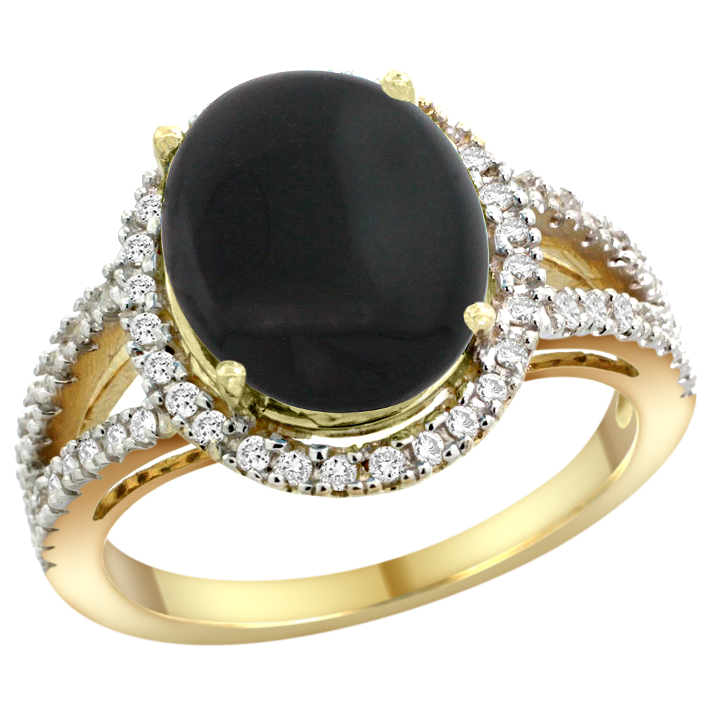 10K Yellow Gold Natural Black Onyx Ring Oval 12x10mm Diamond Accents, sizes 5 - 10