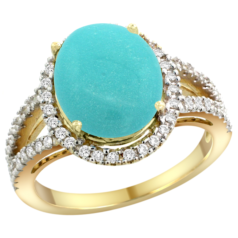 10K Yellow Gold Natural Turquoise Ring Oval 12x10mm Diamond Accents, sizes 5 - 10