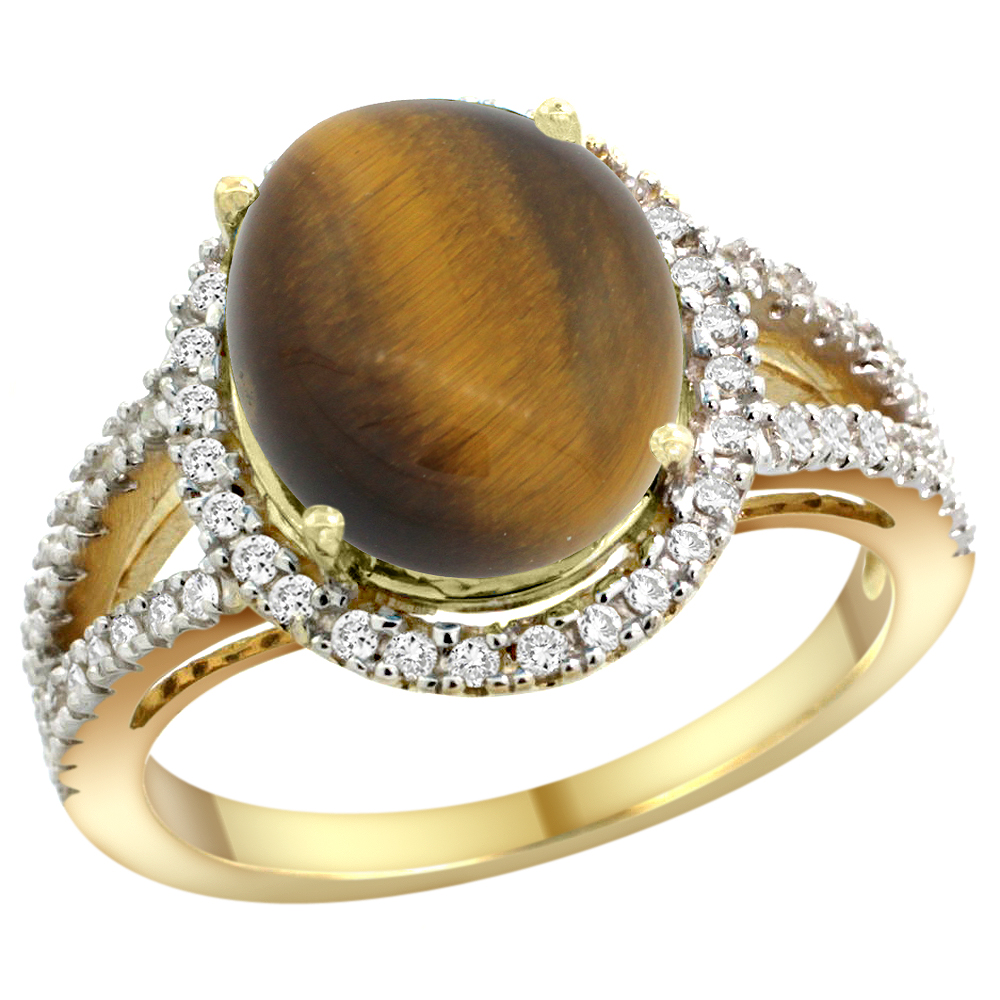 10K Yellow Gold Natural Tiger Eye Ring Oval 12x10mm Diamond Accents, sizes 5 - 10