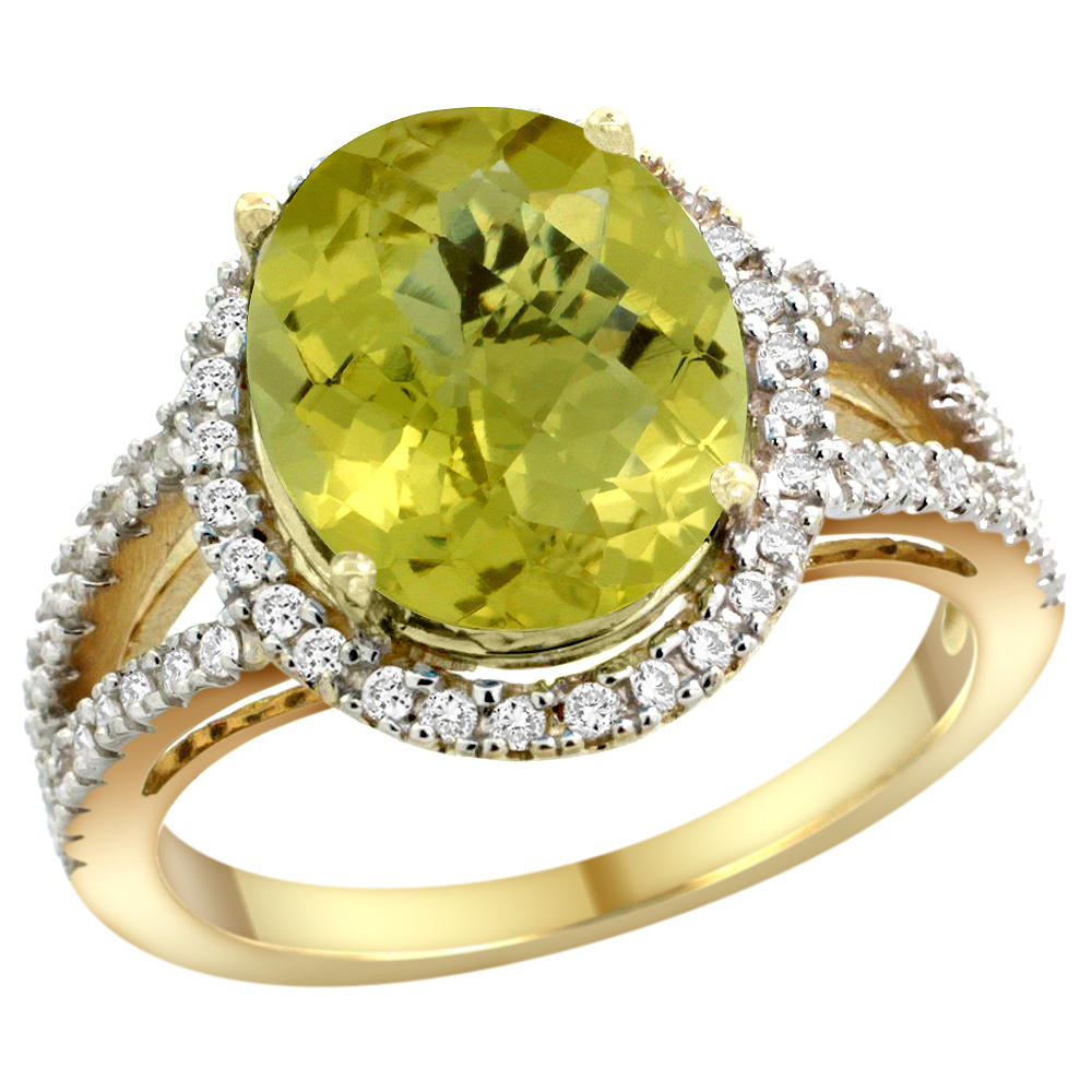 10K Yellow Gold Natural Lemon Quartz Ring Oval 12x10mm Diamond Accents, sizes 5 - 10