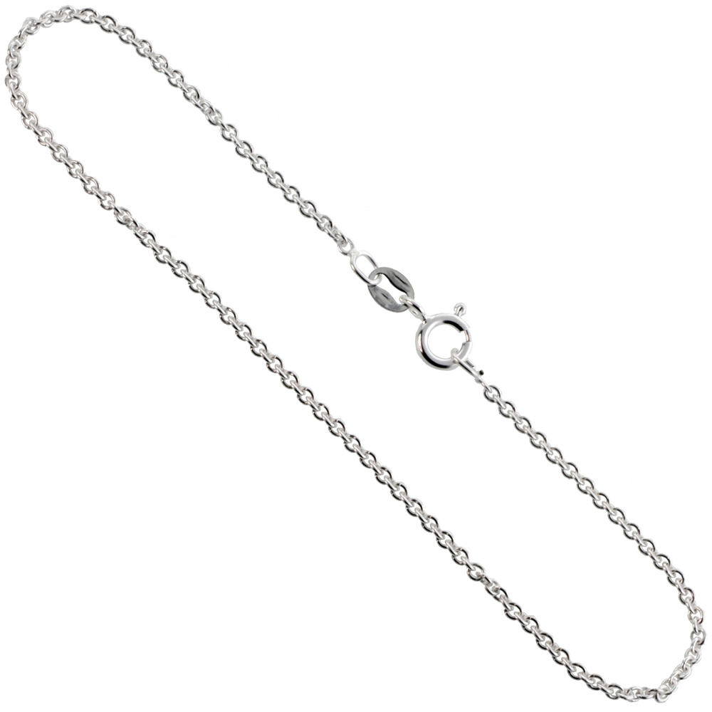 Sterling Silver Cable Chain Necklaces & Bracelets 1.5mm thin Nickel Free Italy, sizes 7 - 30 inches