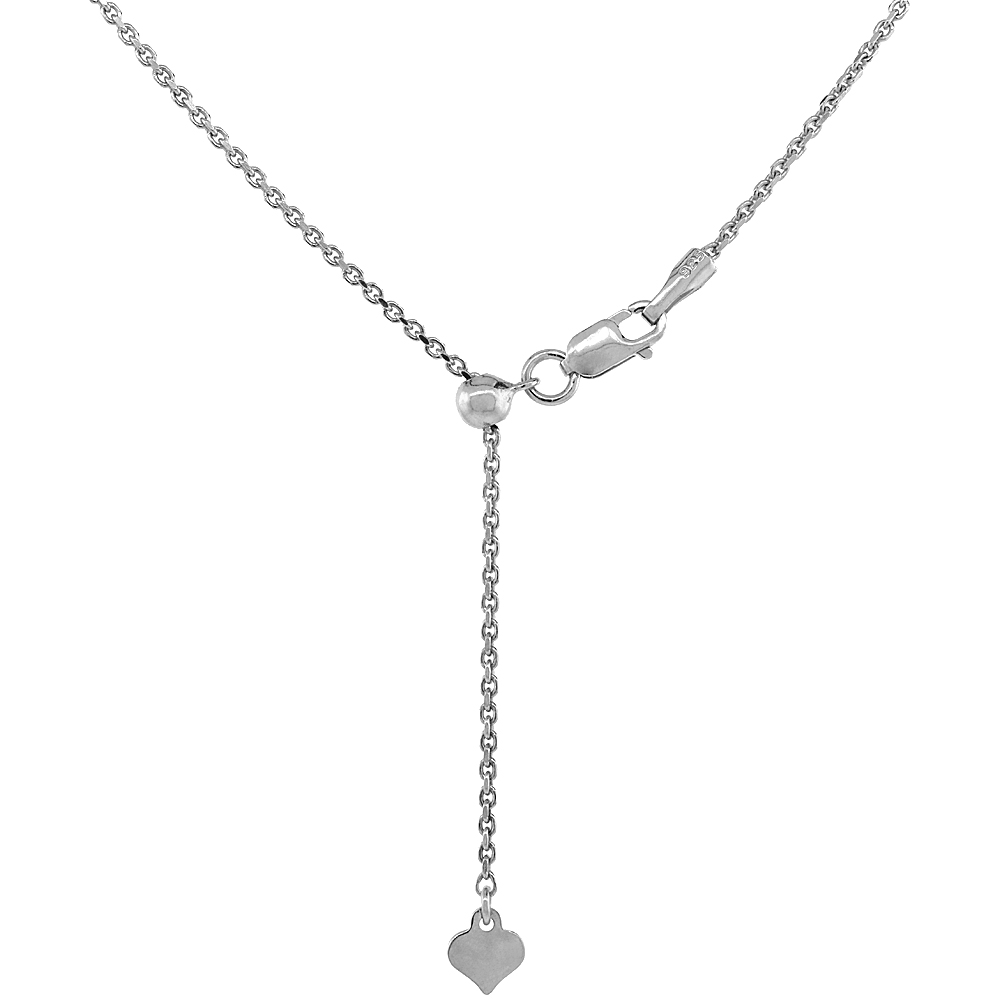 Sterling Silver Adjustable Cable Chain Necklace 1.3 mm Rhodium Finish Nickel Free, 24 inch