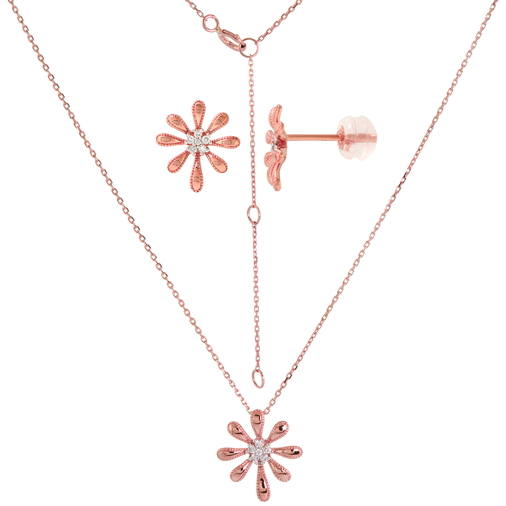 Dainty 14k Rose Gold Diamond Daisy Flower Earrings and Necklace Set 0.11 cttw
