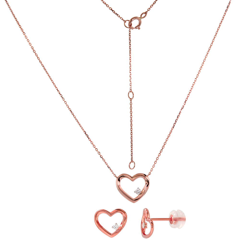 Dainty 14k Rose Gold Diamond Open Heart Earrings and Necklace Set 0.1 cttw