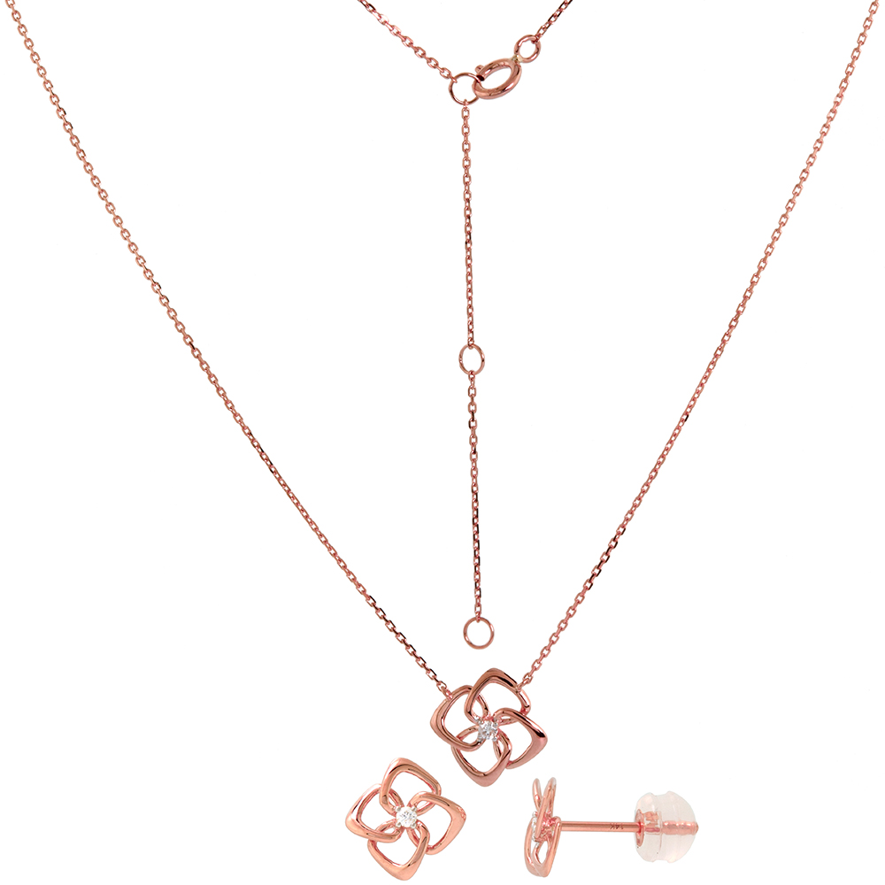 Dainty 14k Rose Gold Diamond Quatrefoil Earring and Necklace Set 0.06 cttw