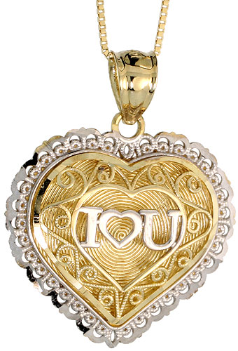 10k Gold Filigree Heart I Love You Necklace 2-tone 3/4 high, 18 inch