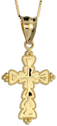 10k Gold Cross Necklace 3/4 high, 18 inch
