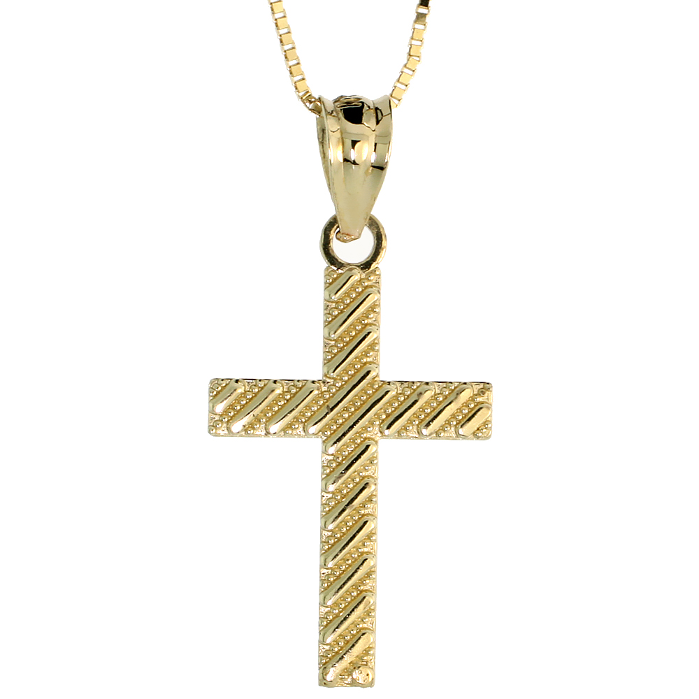 10k Gold Latin Cross Necklace 3/4 high, 18 inch