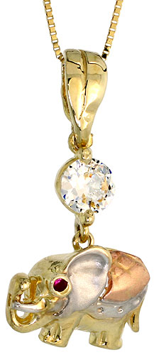 10k Gold Elephant CZ Necklace 3-tone 3/4 high, 18 inch