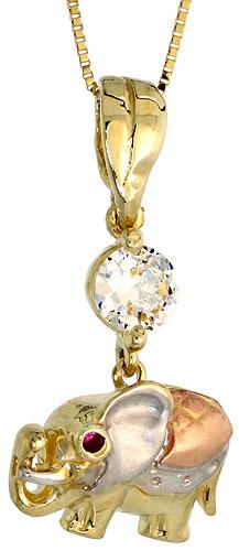 10k Gold Elephant CZ Necklace 3-tone 3/4 high, 18 inch
