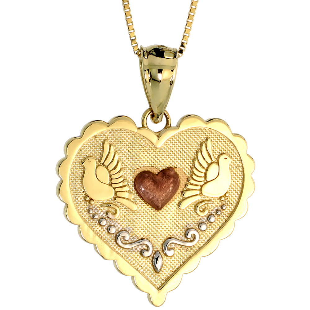 10k Gold Heart Necklace 3/4 high, 18 inch