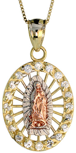 10k Gold Our Lady of Guadalupe CZ Necklace 3-tone 3/4 high, 18 inch