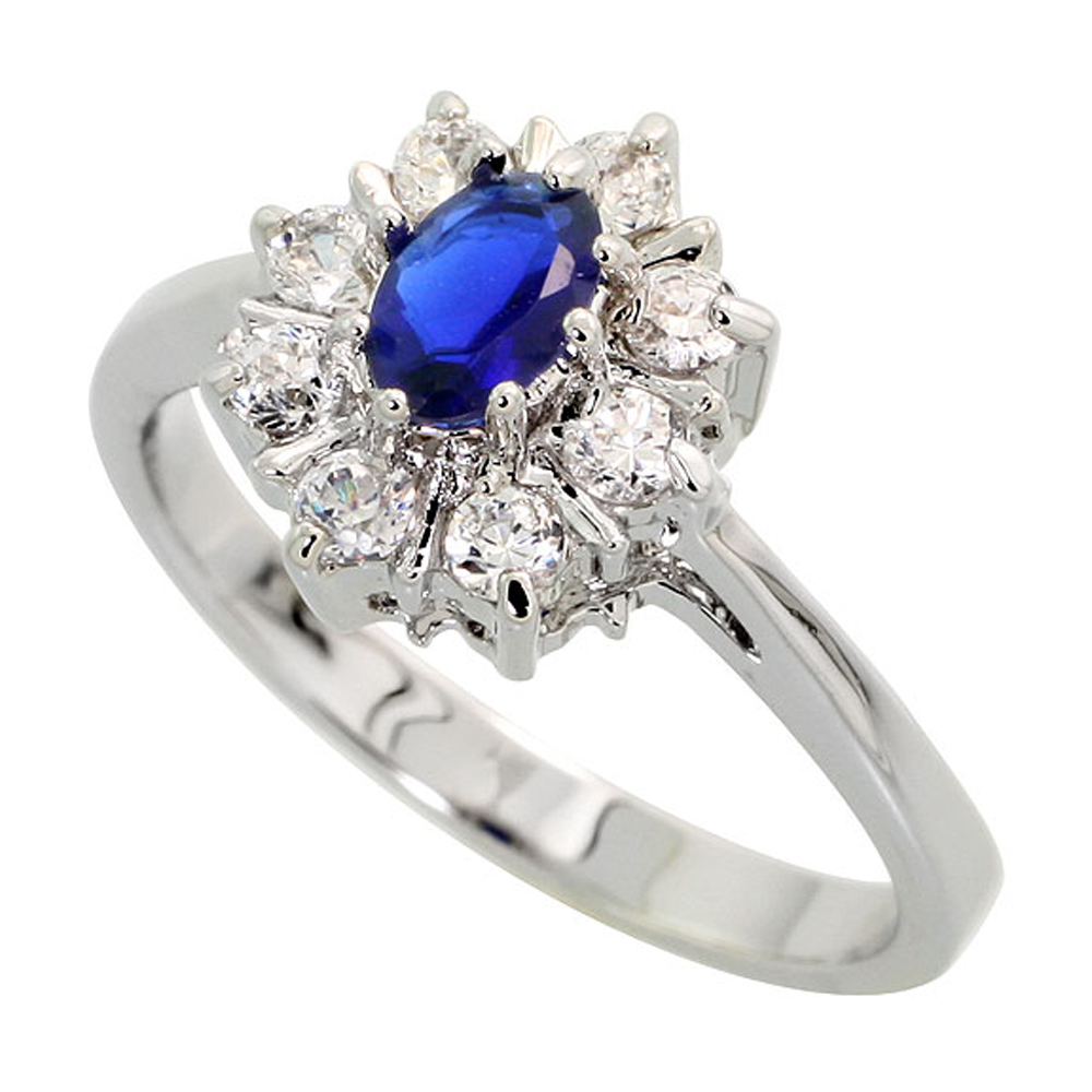Sterling Silver Blue Sapphire Cubic Zirconia Oval Shape Ring Rhodium finish, sizes 5 - 9