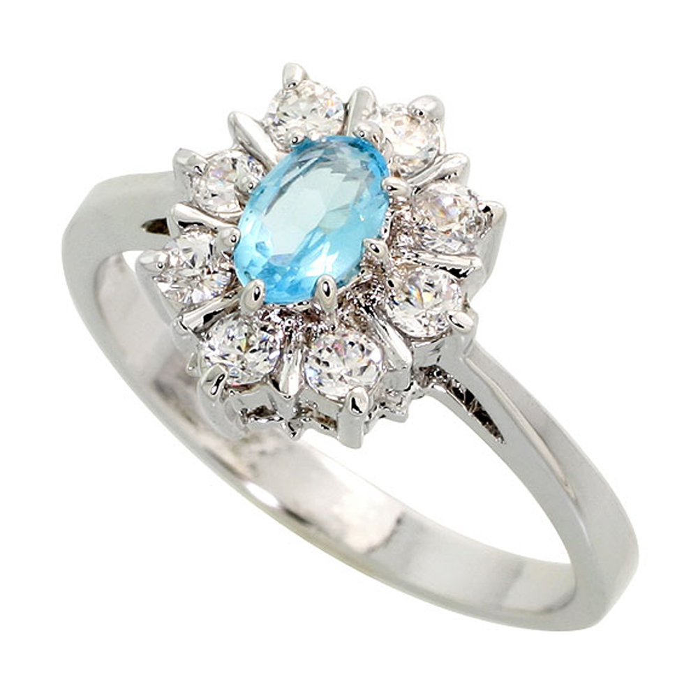 Sterling Silver Blue Topaz Cubic Zirconia Oval Shape Ring Rhodium finish, sizes 5 - 9