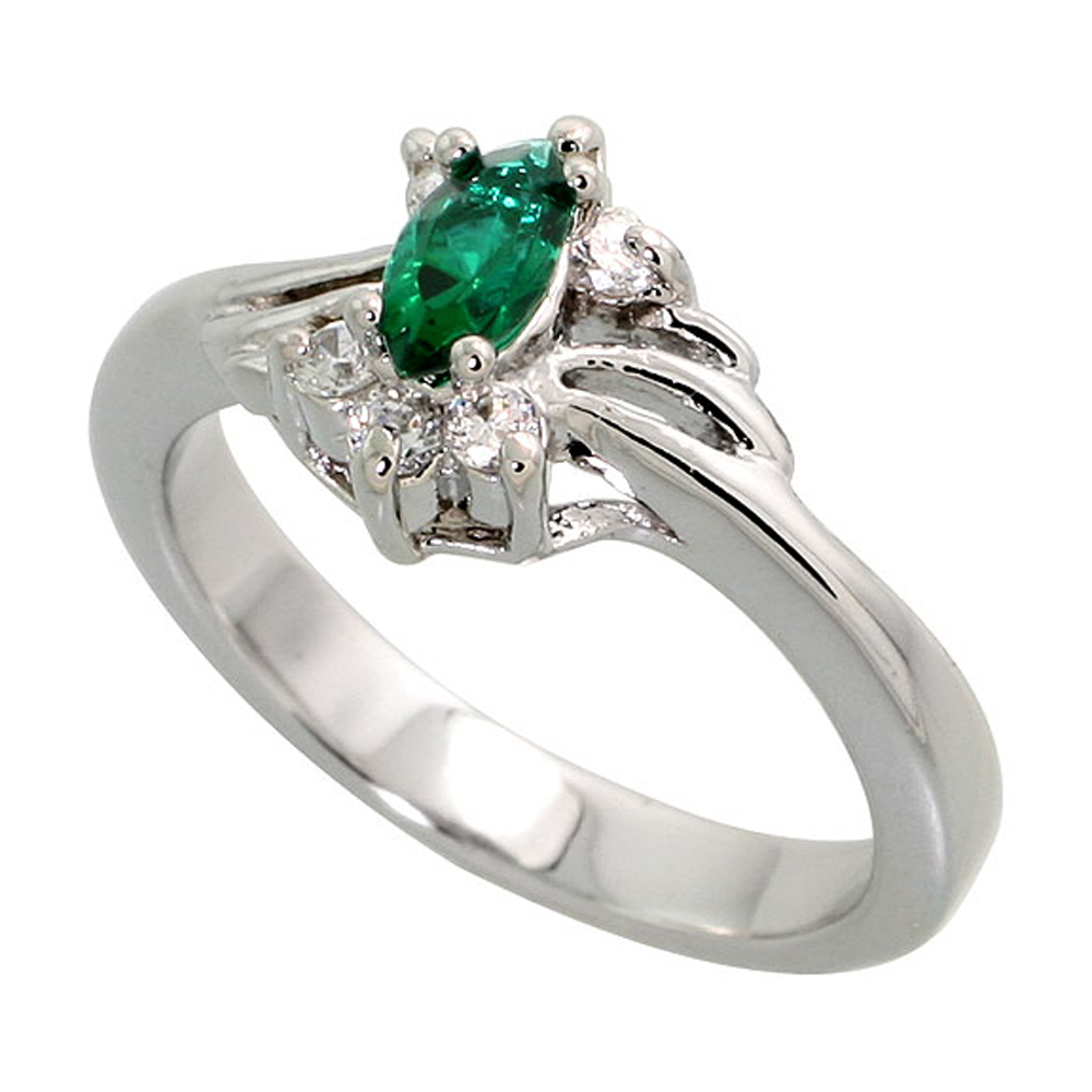 Sterling Silver Emerald Cubic Zirconia Ring Navette Shape Rhodium finish, sizes 5 - 9