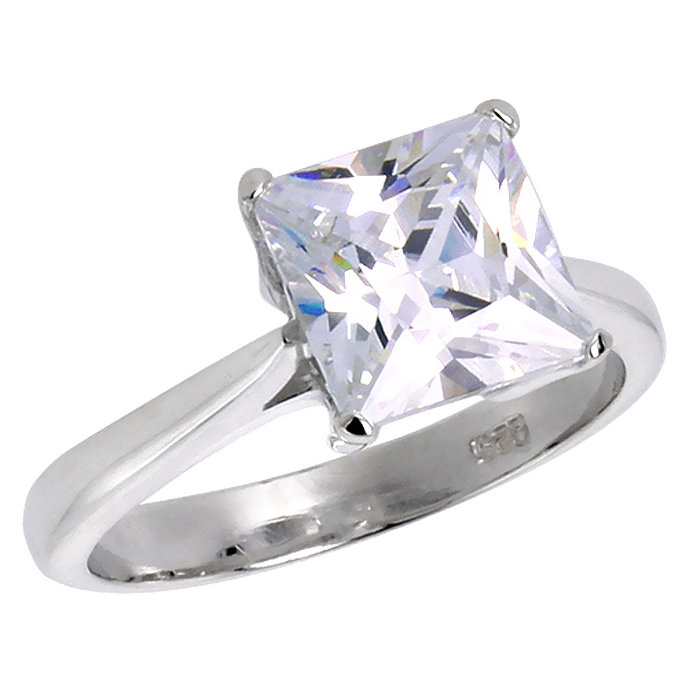 Sterling Silver Cubic Zirconia Princess Cut Solitaire Engagement Ring 3 ct, sizes 6 - 10
