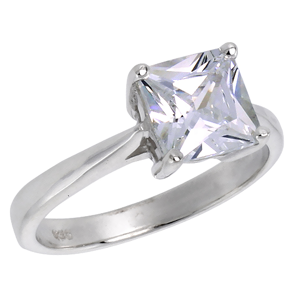 Sterling Silver Cubic Zirconia Princess Cut Solitaire Engagement Ring 2 ct, sizes 6 - 10