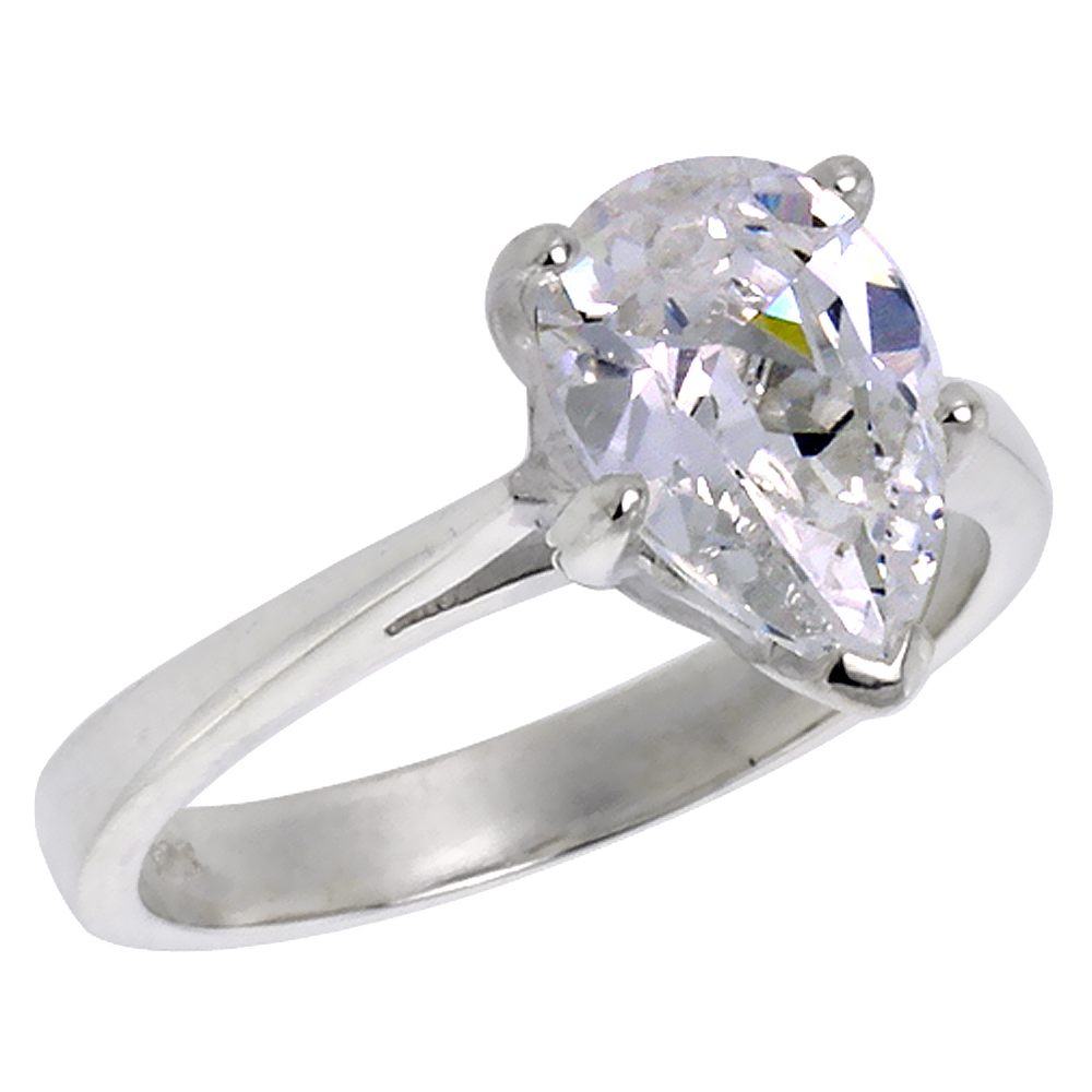 Sterling Silver Cubic Zirconia Pear Cut Solitaire Engagement Ring 1/2 ct, sizes 6 - 10