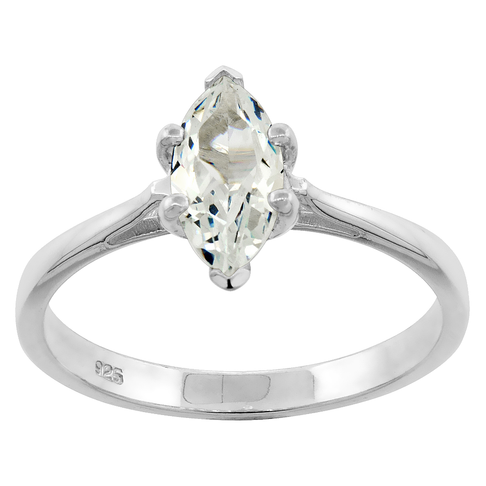 Sterling Silver Cubic Zirconia Marquise Cut Solitaire Engagement Ring 0.85 ct, sizes 6 - 10