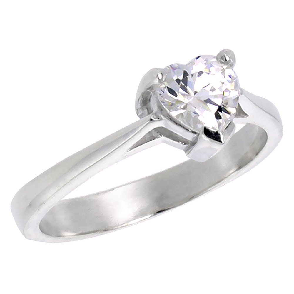 Sterling Silver Cubic Zirconia Heart shape Solitaire Engagement Ring 3/4 ct, sizes 6 - 10