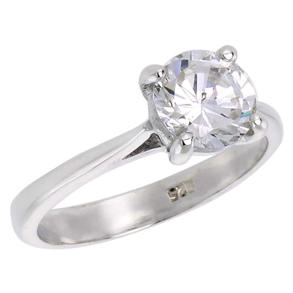 Sterling Silver Cubic Zirconia Solitaire Engagement Ring Brilliant Cut 1 1/4 ct, sizes 6 - 10