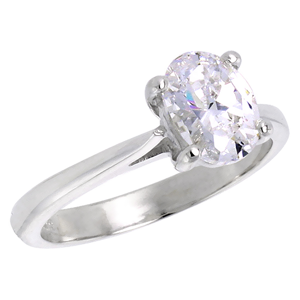 Sterling Silver Cubic Zirconia Solitaire Engagement Ring Oval shape 1 1/4 ct, sizes 6 - 10