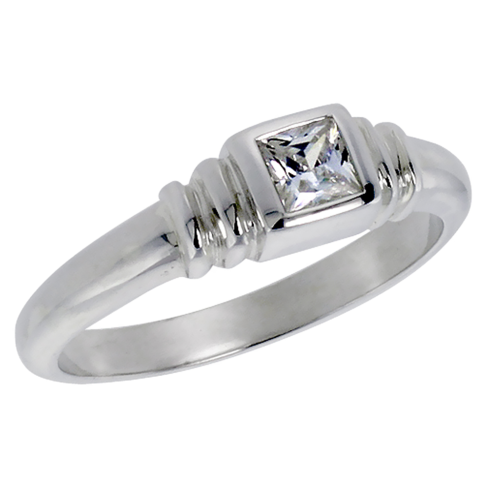 Sterling Silver Cubic Zirconia Solitaire Ring Bezel Set Princess Cut 1/3 ct, sizes 6 - 10
