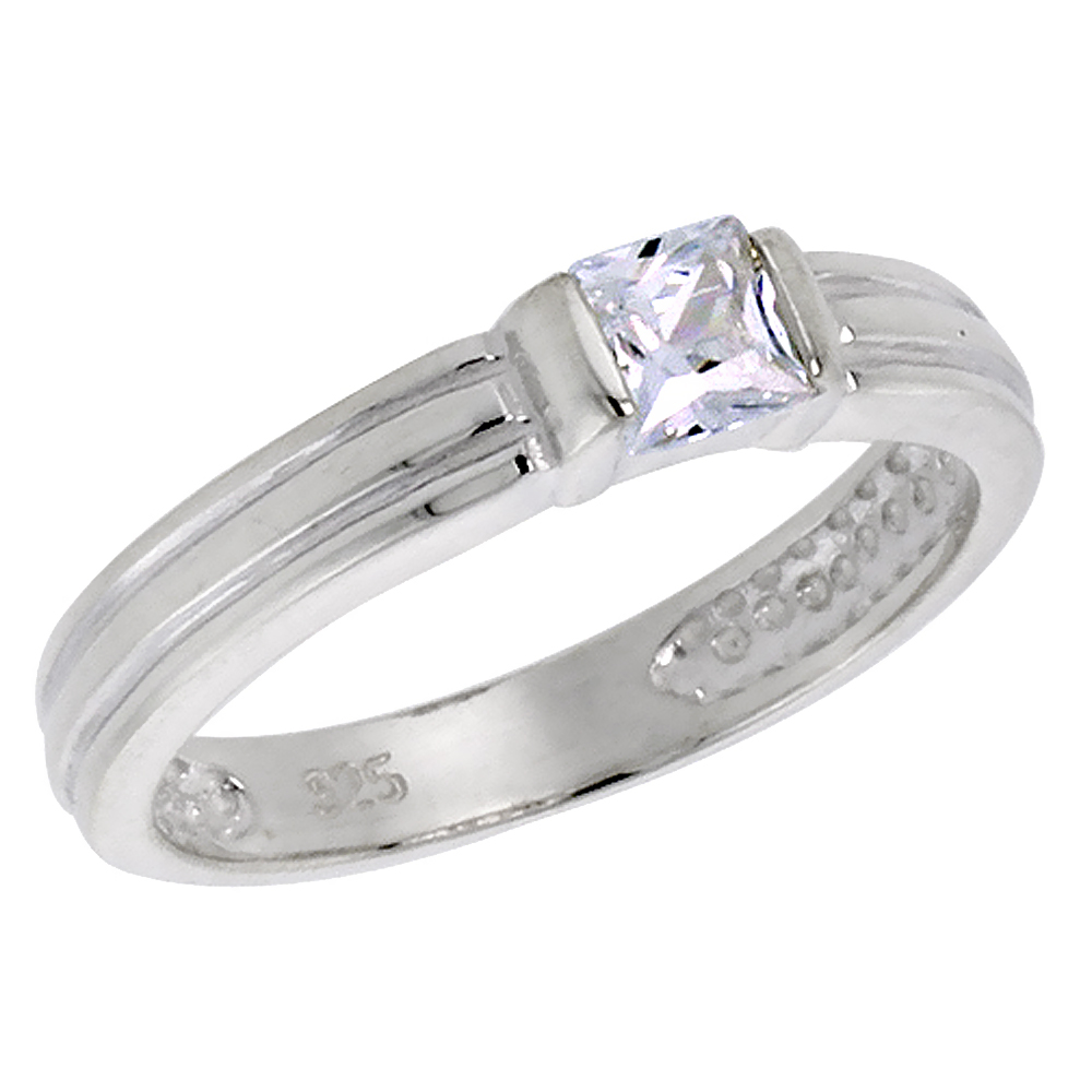 Sterling Silver Cubic Zirconia Princess Cut Stack Ring 0.40 ct, sizes 6 - 10