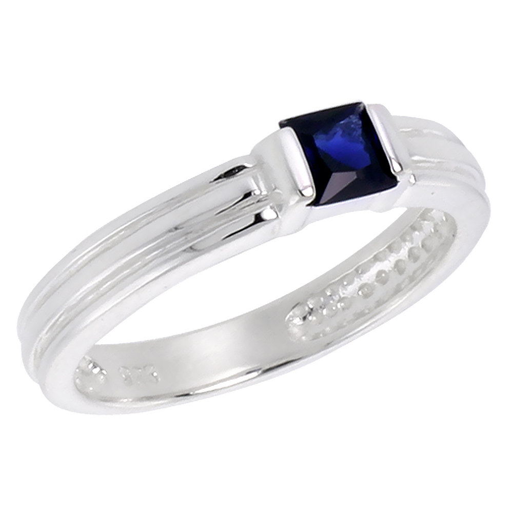Sterling Silver Blue Sapphire Cubic Zirconia Stack Ring Princess Cut 0.40 ct, sizes 6 - 10