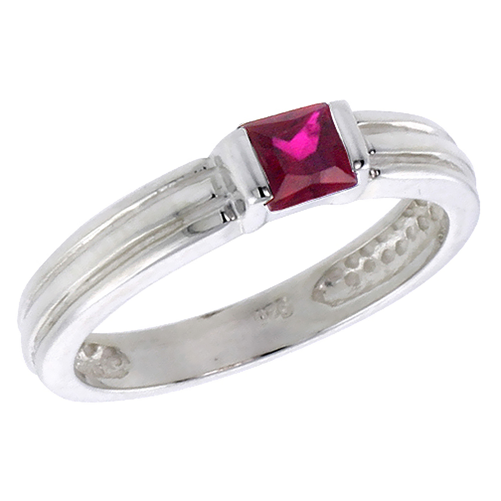 Sterling Silver Ruby Cubic Zirconia Stack Ring Princess Cut 0.40 ct, sizes 6 - 10