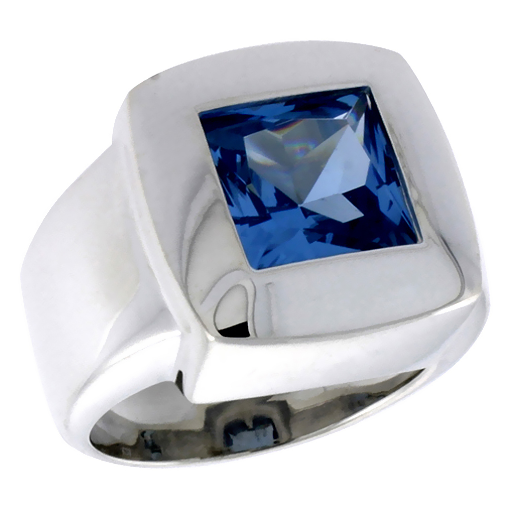 Sterling Silver Blue Topaz Cubic Zirconia Solitaire Ring Princess Cut 4 ct, sizes 6 - 10
