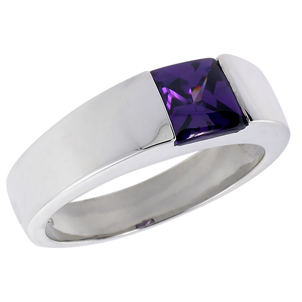 Mens Sterling Silver Amethyst CZ Solitaire Ring Princess Cut 2 ct size, sizes 8 to 13