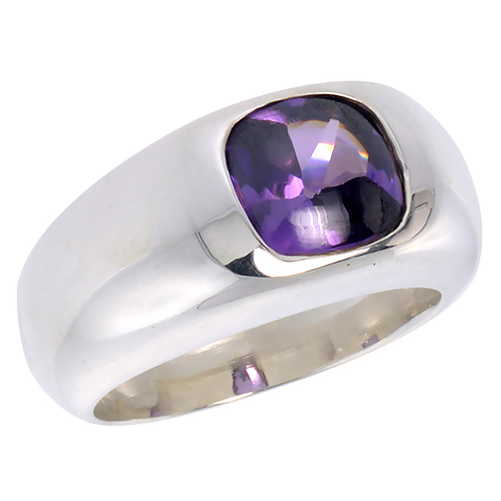 Sterling Silver Amethyst CZ Solitaire Ring Cushion Cut 1.9 ct, sizes 6 to 13