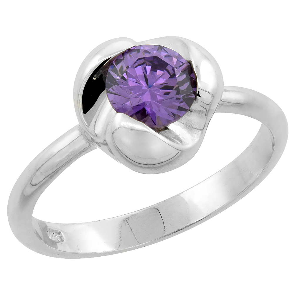 Sterling Silver Amethyst Cubic Zirconia Solitaire Ring Flower Setting, sizes 6 - 10