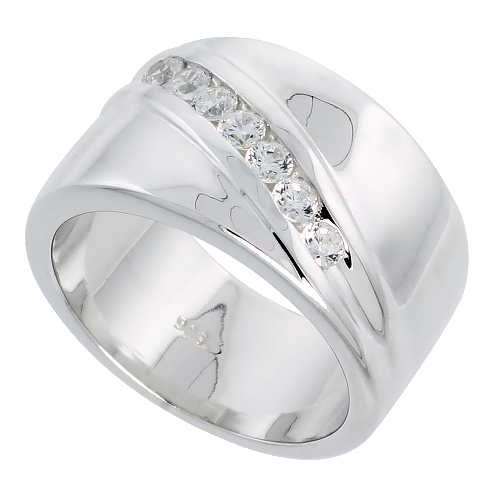 Mens Sterling Silver Cubic Zirconia Ring Brilliant Cut, sizes 8 to 13